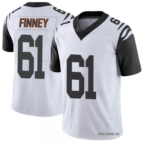Men's B.J. Finney Cincinnati Bengals Limited White Color Rush Vapor Untouchable Jersey